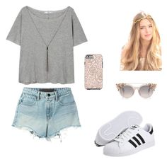 """""""Pretty Peachy"""" by rachelsdescription on Polyvore featuring MANGO, T By Alexander Wang and adidas Originals"""