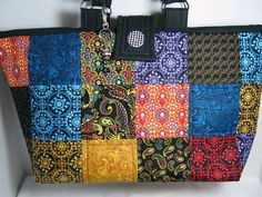 Brilliant Color Patchwork Carryall Yarn Quilted by JDCreativeHands