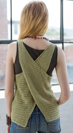 "octavia crochet top designed by sandi rosner / from her book ""21 Crocheted Tanks + Tunics: Stylish Designs for Every Occasion"" / in quince & co. sparrow, color little fern"