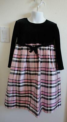 Size 4 Girls ~ *Hartstrings - Blk Velour w/Pink Plaid Skirt! BTS or Xmas