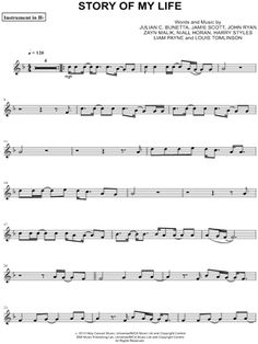 """One Direction """"Story of My Life - Bb Instrument"""" Sheet Music (Trumpet, Clarinet, Soprano Saxophone or Tenor Saxophone) - Download & Print"""