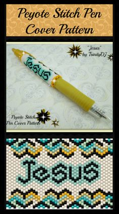 Jesus (Pen Cover) Beading Pattern by Lorraine Hickton (Coetzee) aka TrinityDJ at Sova-Enterprises.com