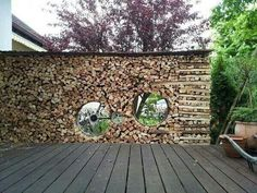 """in Sport on """"Guys, what have you done with my bike?"""" (by - what have you done with my bike? Firewood Rack, Firewood Storage, Cerca Natural, Outdoor Art, Outdoor Decor, Champions Of The World, Wood Shed, Into The Woods, Shed Plans"""