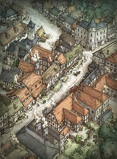The Shopping District map cartography isometric closeup | Create your own roleplaying game material w/ RPG Bard: www.rpgbard.com | Writing inspiration for Dungeons and Dragons DND D&D Pathfinder PFRPG Warhammer 40k Star Wars Shadowrun Call of Cthulhu Lord of the Rings LoTR + d20 fantasy science fiction scifi horror design | Not Trusty Sword art: click artwork for source