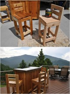 15 Gorgeous DIY Barstools That Add Comfortable Style To The Kitchen Diy Bar Stools, Wooden Bar Stools, Wooden Chairs, Bar Chairs, Palette Garden Furniture, Kitchen Furniture, Furniture Stores, Cheap Furniture, Pallet Furniture