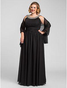 Formal Evening/Prom/Military Ball Dress - Black Plus Sizes A-line Jewel Floor-length Chiffon – USD $ 85.49