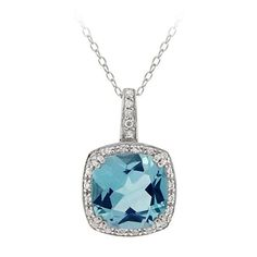 "Sterling Silver Large Square Sky Blue Topaz with Cubic Zirconia Accent Pendant Necklace, 18"": Jewelry: Amazon.com"