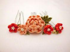 Flower headpiece set, Tsumami kanzashi, Coral Camellia hair comb, Scarlet coral flower hair stick, Upcycled kimono, Fabric flower, OOAK
