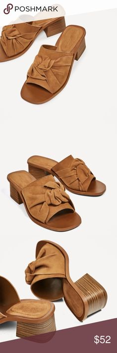 """NWT Zara Knotted Leather Mule Natural color leather sling back sandal with 1.9"""" heel height. Euro 37. Zara Shoes Mules & Clogs"""