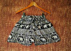 Black Boho High waisted Shorts Elephants print by TribalSpiritShop