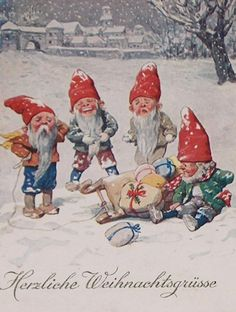 Elves with sled - vintage German Christmas card