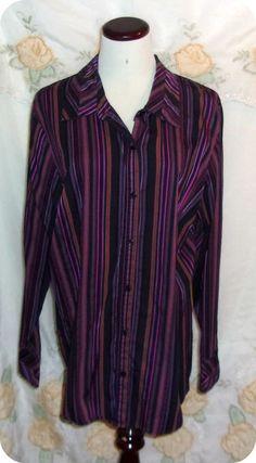 LANE BRYANT Womens Top Plus Size 14/16 Purple Black Striped Long Sleeve Cotton #LaneBryant #ButtonDownShirt #CareerCasual #Ebay #Fashion #Clothing #Womans #Plussize #Top #Freeshipping #Size14/16