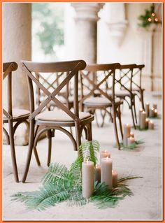 Bouquet Breakdown: Elegant All-White Mexico Wedding Inspiration cross-back chairs wedding ceremony with church candle and fern pew ends. Diy Wedding Aisle Runner, Church Wedding Decorations Aisle, Wedding Church Aisle, Wedding Chairs, Fern Wedding, Purple Wedding, Floral Wedding, Summer Wedding, Pew Ends
