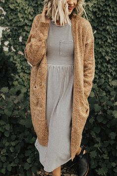 Heathered Rust Cardigan Thick Knit Stitching Dropped Shoulder Seam Slouch Pockets View Size Chart Model is + Wearing a Small Modest Outfits, Modest Fashion, Casual Outfits, Cute Outfits, Fashion Outfits, Apostolic Fashion, Modest Clothing, Clothing Stores, Skirt Outfits