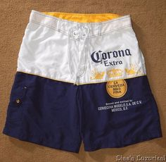 "Men's 34"" Board Shorts Beach Unlined Swim Trunks Corona Extra Beer #Corona…"