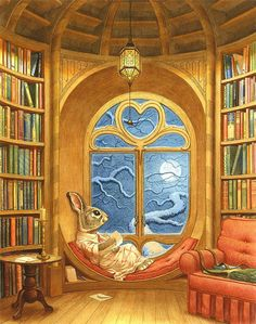 A 31 x print taken from the original artwork 'Paisley's Library' by Chris Dunn. Illustration for 'Paisley Rabbit and the Treehouse Contest'. Art And Illustration, Les Moomins, Chris Dunn, Writing Thank You Cards, Susan Wheeler, Poster Print, Reading Art, Bunny Art, Fairytale Art