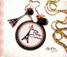 Collier Sautoir Cabochon • Paris couture • tour Eiffel nœud rayure rose noir blanc verre