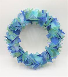 Artisan handmade sea glass wreath, beach glass wreath for coastal, nautical or beach decor Sea Glass Decor, Sea Glass Colors, Sea Glass Art, Beach Glass Wreath, Beach Wedding Gifts, Beach Grass, Beach House Decor, Recycled Glass, Coastal Decor
