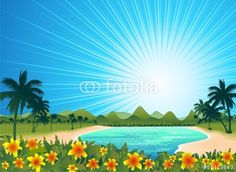 Sold! <3 #Exotic #Tropical #Blue #Lagoon <3 #Vector #Illustration - by #BluedarkArt​ on #Fotolia  https://it.fotolia.com/id/51329843