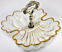 Antique Moser Opaline Service Dish, Double Scallop Shell with Silver Handle