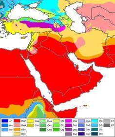 Köppen climate classification map of West Asia