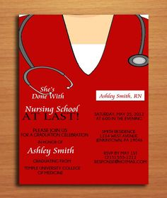 Scrub Top Nursing Graduation Party Invitation Cards PRINTABLE DIY. $15.00, via  invites