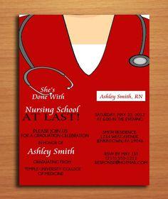 Scrub Top Nursing / Medical Degree Graduation Party Invitation Cards PRINTABLE DIY. $15.00, via Etsy.