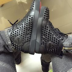 His Her Louboutin Sneakers High Top Tops Trainers Designer Footwear Fashion