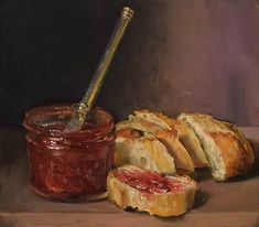 """Jam and Bread"" by Duane Keiser Still Life Drawing, Still Life Art, Food Painting, Identity Art, Surrealism Painting, Nature Drawing, Art Challenge, Pretty Art, Aesthetic Art"
