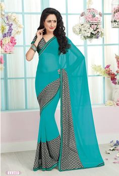 Sky Blue printed georgette saree with blouse - Agrwalas - 443494 Jewelry, Latest Sarees, Georgette Sarees, Party Wear Sarees, Dress Me Up, Sari, Gowns, Formal Dresses