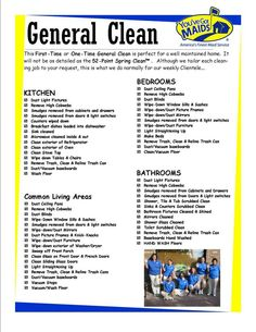 9 Best Images of Maid Service Checklist Printable - House Cleaning Service Checklist, Residential House Cleaning Checklist and Printable House Cleaning Checklist Template Cleaning Contracts, Cleaning Companies, Diy Cleaning Products, Cleaning Hacks, Cleaning Schedules, Office Cleaning, Deep Cleaning, Cleaning Flyers, Cleaning Lists