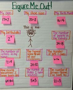 All about me math.  This could easily be done for 4th graders