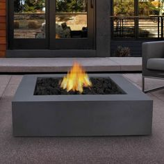Mezzo Square Fire Table - Grey