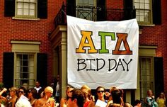 Banners | Alpha Gamma Delta | AGD simple Bid Day banner #greek #sorority #recruitment