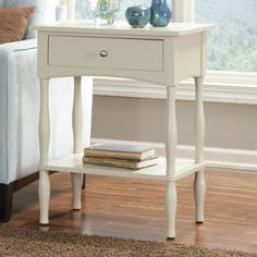 Charmant Alaterre Cottage End Table/Nightstand   Sand, Tan