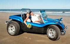 A ride in a dune buggy as husband and wife. GingerSnaps Photography http://www.outerbanksweddingassoc.org/membersearch/memberpage.html?MID=1969=Videographers=21 #uniqueweddingphotos #obxwedding