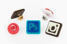 Photo App Pins - The Pinterest, Instagram and Photoshop icons are now fashion icons! ($12)
