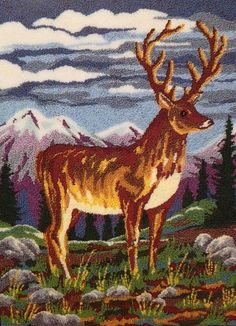 Webster Punch Needle Large A3 Size Highland Stag by WebsterPunch
