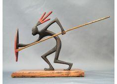 #0095 Art Deco Bronze Figure of African Warrior - Designed by Franz Hagenauer c1930-1950