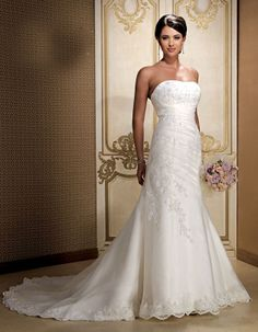 Fashionable strapless dropped waist organza wedding dress Check out Dieting Digest Wedding Dress Organza, Cute Wedding Dress, Fall Wedding Dresses, Colored Wedding Dresses, Perfect Wedding, Wedding Gowns, Dream Wedding, Bridesmaid Dresses, Backless Wedding