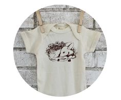 Organic Baby Onepiece Fawn in Flowers Hand by CausticThreads, $20.00