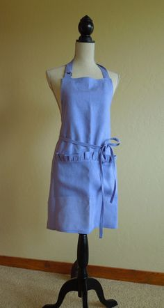 Linen apron wisteria periwinkle blue with ruffled pocket. This lovely full apron is made from a wonderful 100% linen fabric in a gorgeous wisteria,