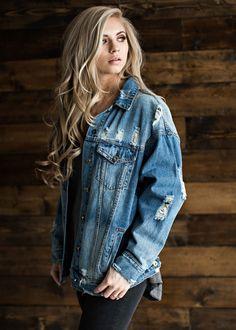 distressed denim jacket, distressed, denim, blonde, hair, fashion, style, ootd, womens fashion, jessakae, shop