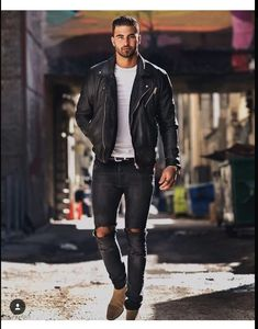 leather jacket biker distressed jeans skinny is part of Mens outfits - Black Leather Jacket Outfit, Biker Jacket Outfit, Black Outfit Men, Jacket Men, Leather Jacket For Men, Leather Men, Moda Formal, Look Man, Boating Outfit