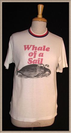 RARE Whale of a SAIL Vintage 60's 70's Fruit of the Loom Action Knit T shirt