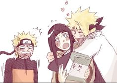 Some father-in-law love!  Minato hugs an astonished Hinata while Naruto watches in annoyance. #naruto