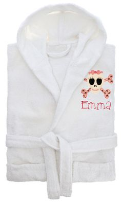 Personalized+Bathrobe RobeColor:+White+ Letter+Color+Shown:+Pink Material:+100%+Cotton Size(s): Small:+age+3-6+(length+24+waist+32) Large:+age...