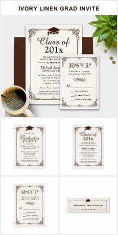 Graduation Invite: Elegant Ivory Linen Suite