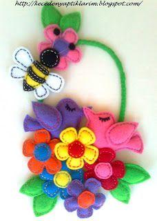 felt door wreath-felt birds felt bee and felt flowers