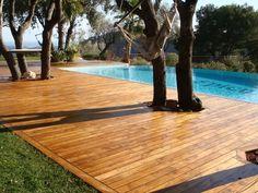 Wood or trex pool decking